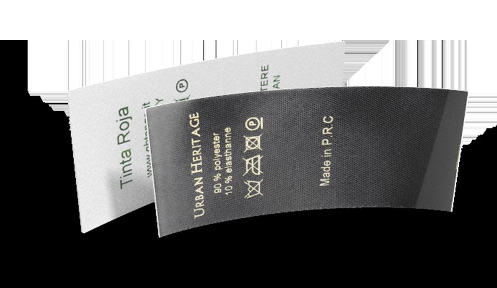 Etichette di composizione e manutenzione in raso da configurare online
