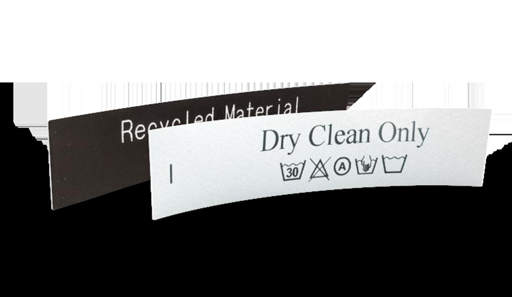 Etichette di manutenzione in raso stampate con testo e simboli di lavaggio da configurare online