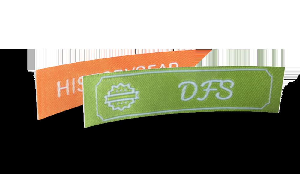 Etichette tessute con testo e simbolo da configurare online
