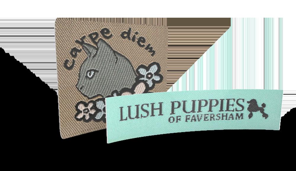 Etichette tessute personalizzate con il tuo logo o immagine