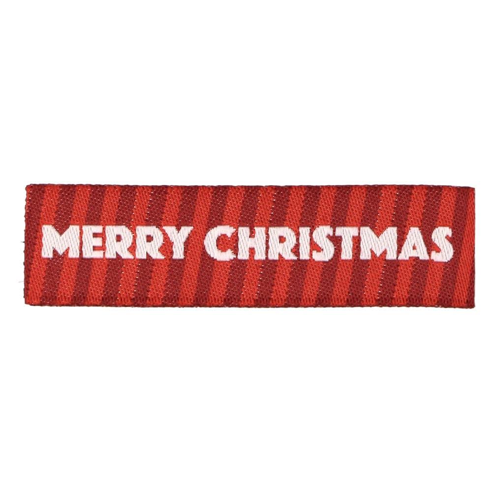 Etichette tessute natalizie - Buon Natale con strisce rosse