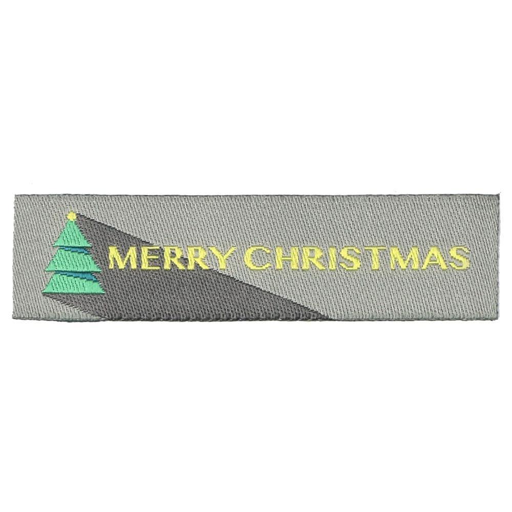 Etichette tessute natalizie - Buon Natale con l'albero di Natale