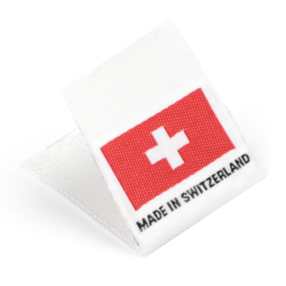 Etichetta tessuta 'Made in Switzerland'
